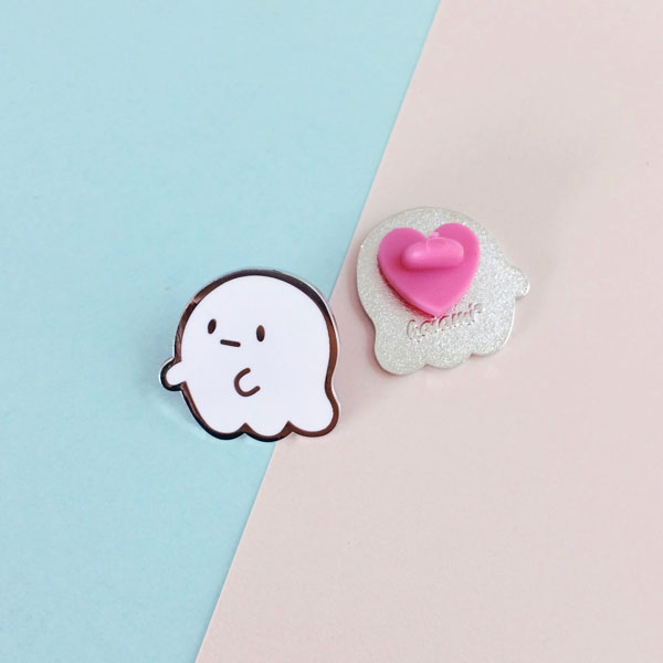 ghost friend enamel pin