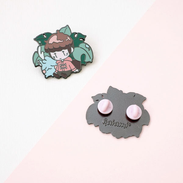 shin and rainie enamel pin