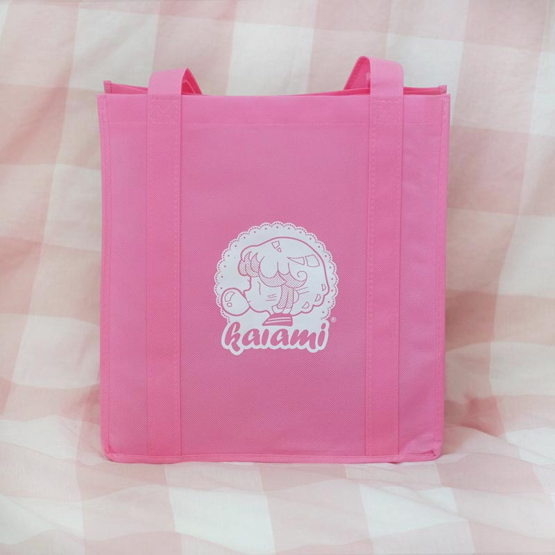 pink logo reusable eco bag