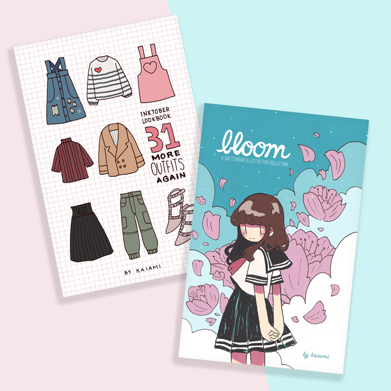 inktober volume 3 + bloom sketchbook zine bundle