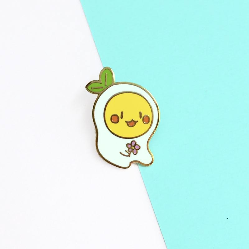 tamachan sitting egg enamel pin