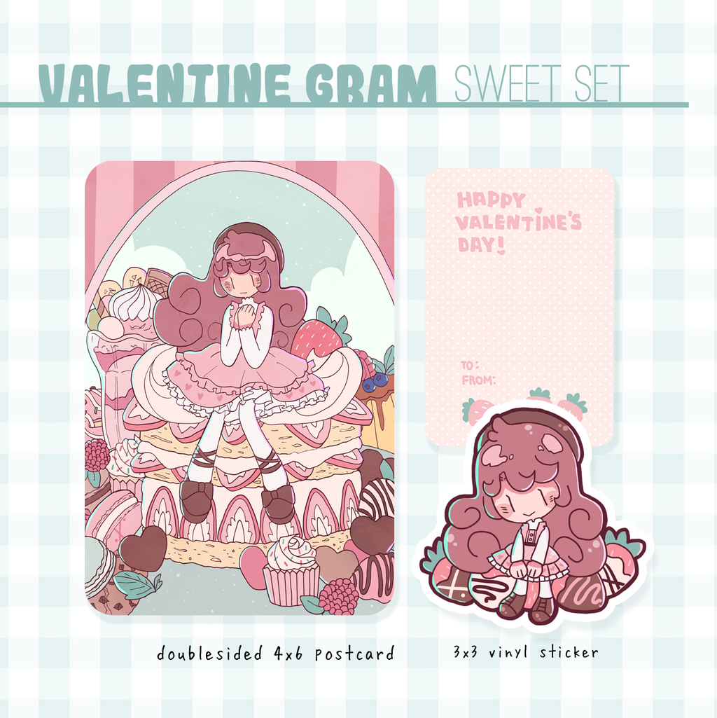 valentine gram sweet set