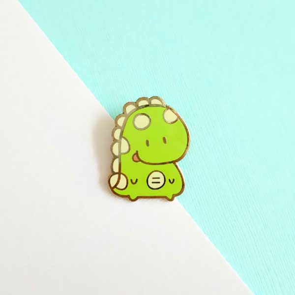 gordy the chubby dino enamel pin