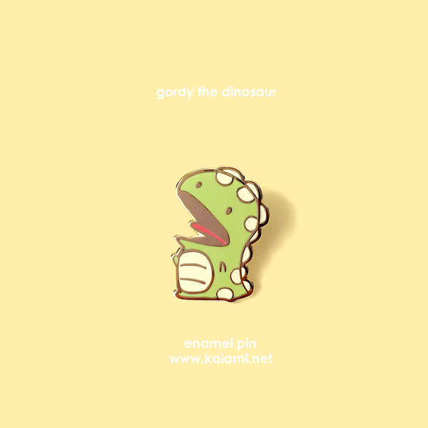 gordy the dinosaur enamel pin