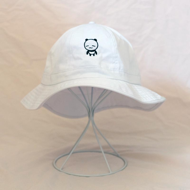 connor the panda white round bucket hat