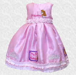 18 MO Beautiful Pink Ruffled First Birthday Embroidered Dress