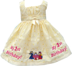 12 MO Yellow and White Checkered 1st Birthday Dress