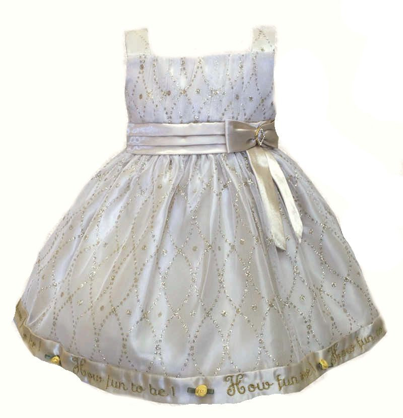 12 Months Fancy Pearl Color Birthday Party Dress