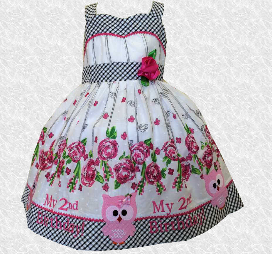 Pink & White Floral and Owl Second Birthday Embroidered Dress