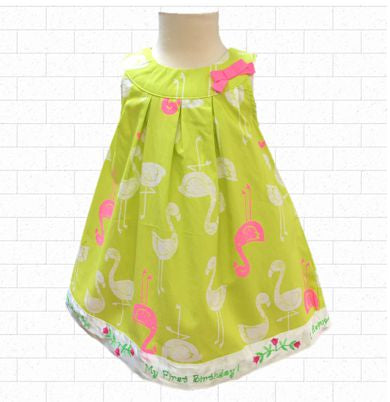 12 MO Lime Green Hot Pink Flamingo Birthday Dress