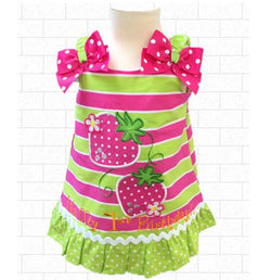 12 MO Hot Pink & Lime Green Strawberry Striped 1st Birthday dress