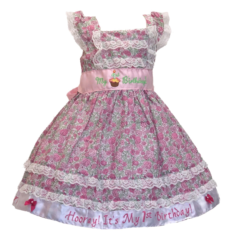 18 Months flowered print  first birthday dress