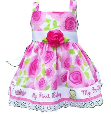 18 MO Gorgeous Pink/White/Green Floral First Birthday Dress