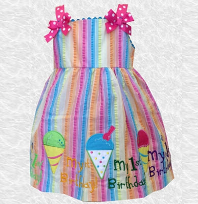 18 MO Ice Cream Cone First Birthday Embroidered Dress