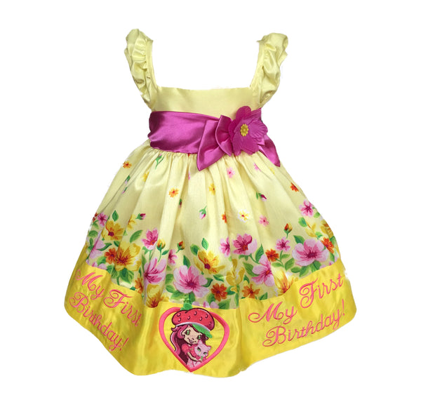 12 Months adorable yellow and Pink Strawberry short cake embroidered baby dress