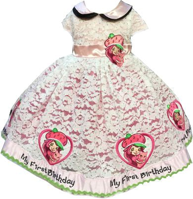12 months pink, The most beautiful strawberry Shortcake first birthday dress