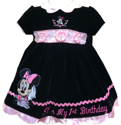 18 months black Minnie Mouse embroidered first birthday baby dress