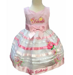 18 Months Pink and white butterfly and princess beautiful embroidered first birthday dress
