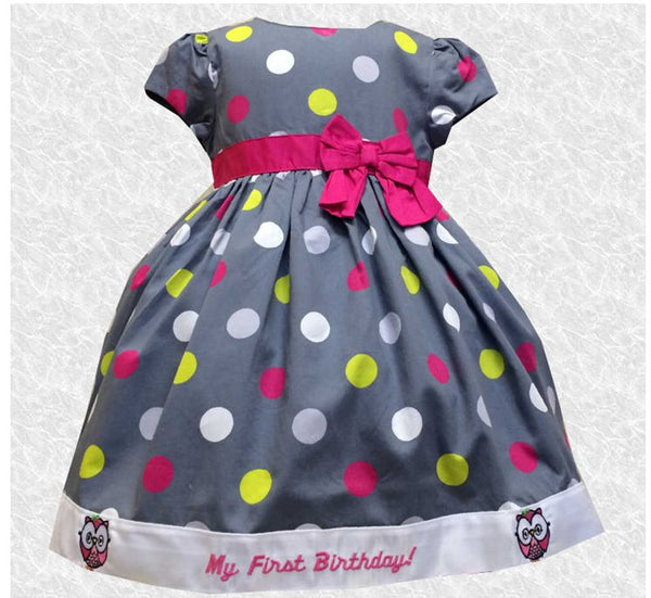 24 MO Grey & Multi Colored Polka dots Owl First Birthday Party Dress