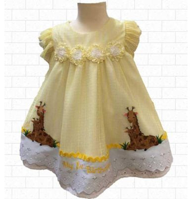 12 months Giraffe  theme yellow embroidered First Birthday  dress
