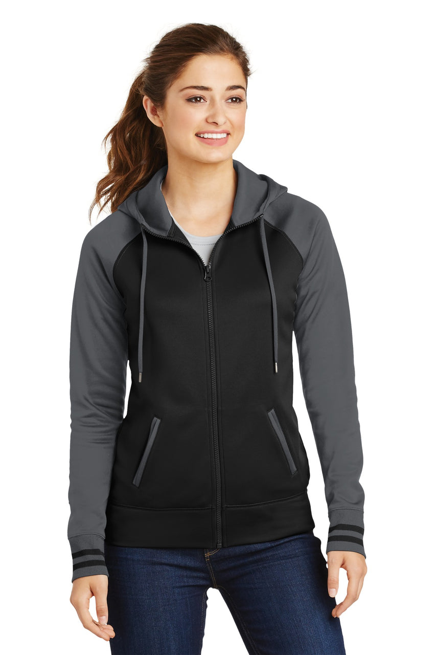 Sport-Tek® Ladies Sport-Wick® Varsity Fleece Full-Zip Hooded Jacket. LST236