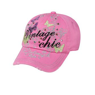 VINTAGE CHIC EMBROIDERED ON METALLIC SWIRL BUTTERFLY DESIGN CAP