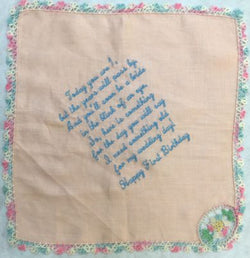Embroidered Birthday Handkerchief gift for baby girl