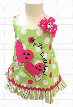 12 MO Lime Green Hot Pink & White Hearts Dotted Birthday dress
