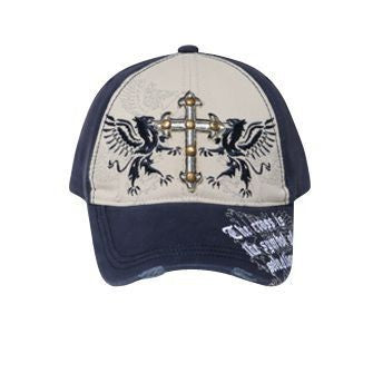 CROSS WITH BRASS STUDS DISTRESSED VISOR CAP