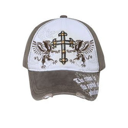 VINTAGE CROSS WITH BRASS STUDS DISTRESSED VISOR CAP