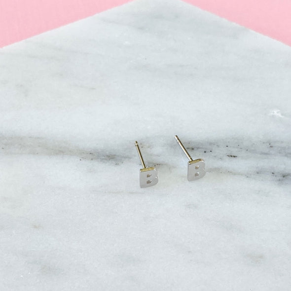 Initial Earrings - Silver