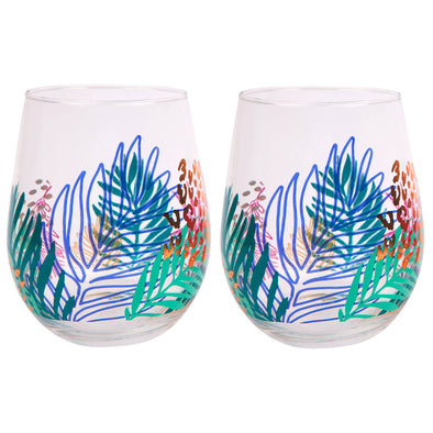 Stemless Cocktail Glass Set - Electric Bloom