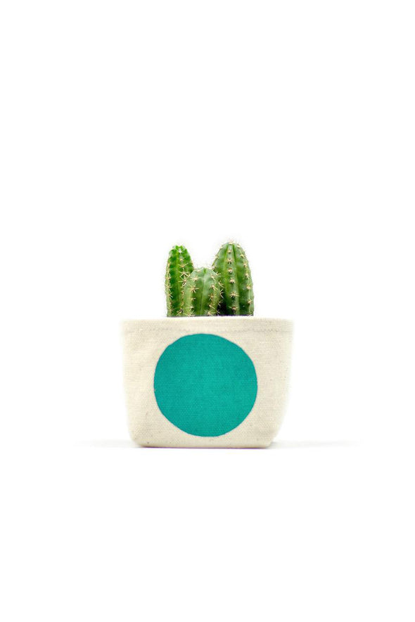 Turquoise Dot Canvas Planter