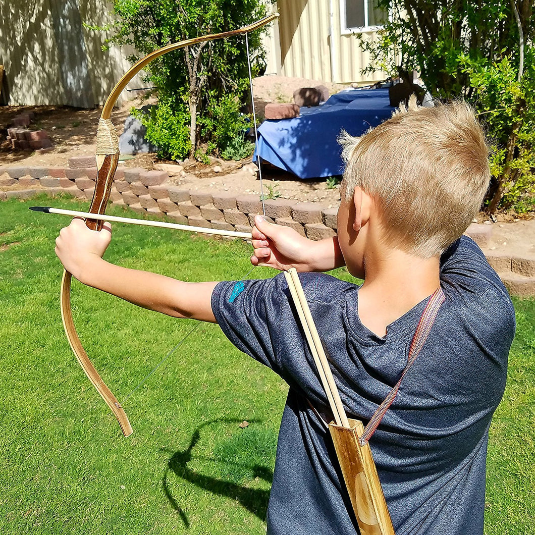 Single Wooden Bow with 10 Arrows
