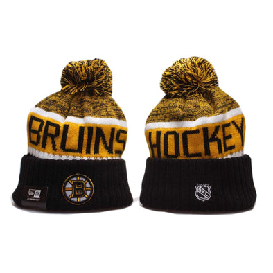Boston Bruins Ice hockey team 2019-20 Beanie Pom Pom Hat Bobble Knitted Fur Pom Bobble Skull New Era Cap BNWT