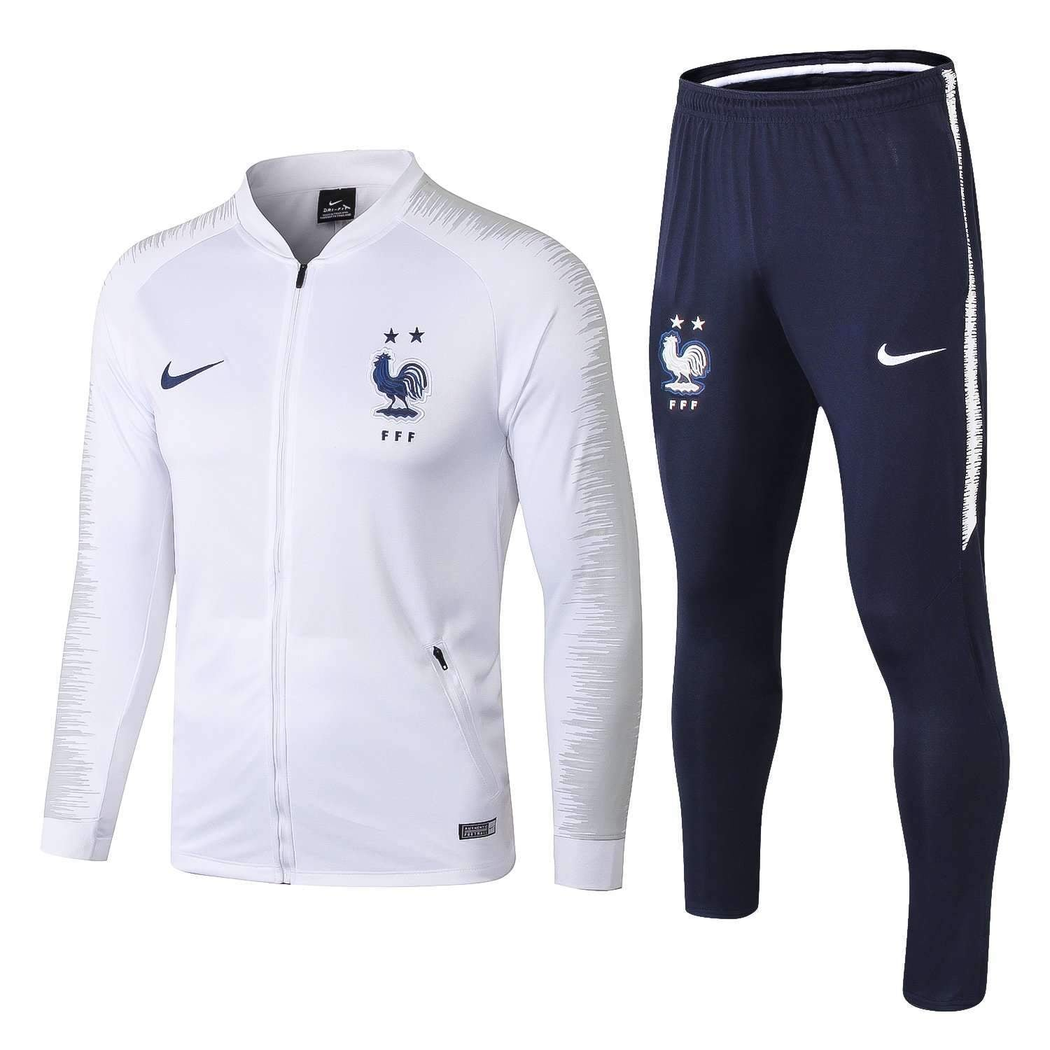finest selection 818d1 5793e France national football team Nike 2018-19 Pre-Match Replica TRAINING White  Zip Casual TOPS TRACKSUIT FÚTBOL CALCIO SOCCER FUSSBALL BNWT Men's Jogging  ...