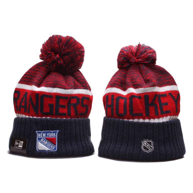 New York Rangers Ice hockey team 2019 Beanie Pom Pom Hat Bobble Knitted Fur Pom Bobble Skull New Era Cap BNWT
