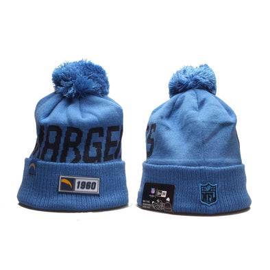 Los Angeles Chargers American football team 2019-20 Beanie Pom Pom Hat Bobble Knitted Fur Pom Bobble Skull New Era Cap BNWT