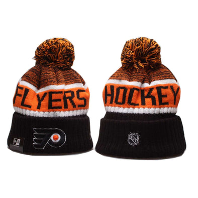 Philadelphia Flyers Ice hockey team 2019 Beanie Pom Pom Hat Bobble Knitted Fur Pom Bobble Skull New Era Cap BNWT