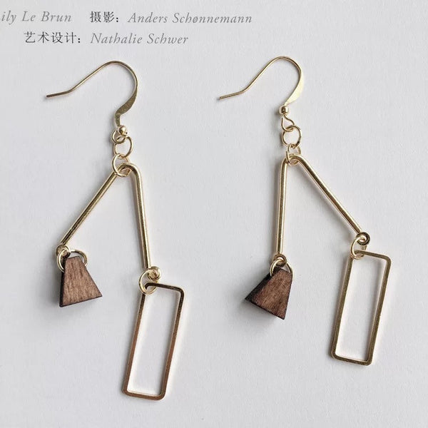 Metal Woody Randomness Earrings