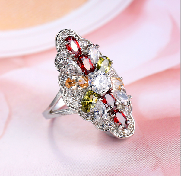 Glamorous Multi-Gem Oval Queen Ring