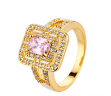 Cherry Blossom Pinky Square-cut Cubic Zirconia Ring