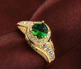 Solitaire Vintage Style Emerald Color Zirconia Ring