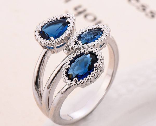 Adjustable Blue Leaf Multi-Gemstone Ring with Diamonds