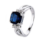 Dark Blue Inlaid Solitaire Gemstone Ring