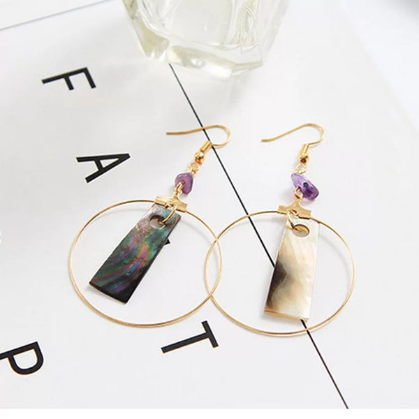 Natural Bali Shell-made Geometry Earrings