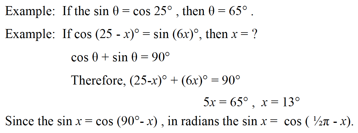 Examples of SAT 1 Math Cofunctions