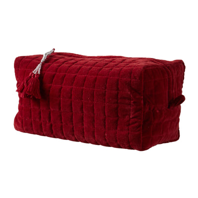 QUILTED VELVET COSMETIC BAG RUBY RED XL - McHugh Lifestyle BOHEMIAN GLAMOUR