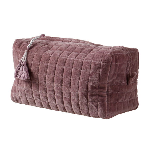 QUILTED VELVET COSMETIC BAG LIGHT PURPLE M - McHugh Lifestyle BOHEMIAN GLAMOUR