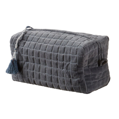 QUILTED VELVET COSMETIC BAG BLUE GREY XL - McHugh Lifestyle BOHEMIAN GLAMOUR
